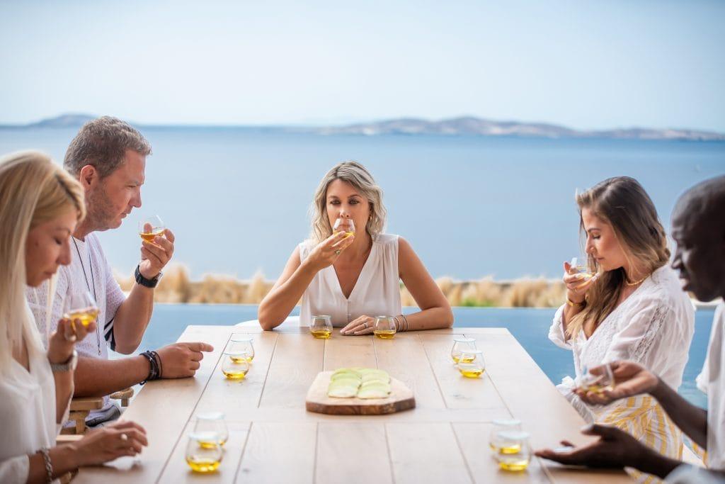 Anita Zachou leads a tasting of Greek Olive oil with Mykonos Olive Oil Tasting Company