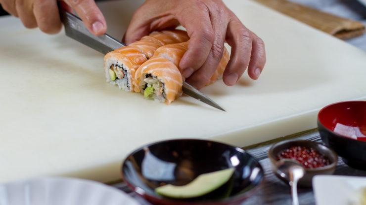 sushi knife with razor-sharp blade