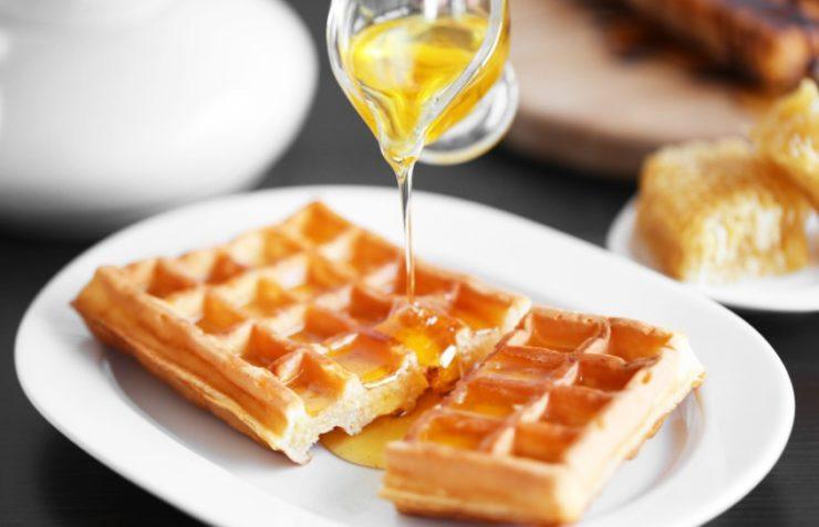 honey on a waffle