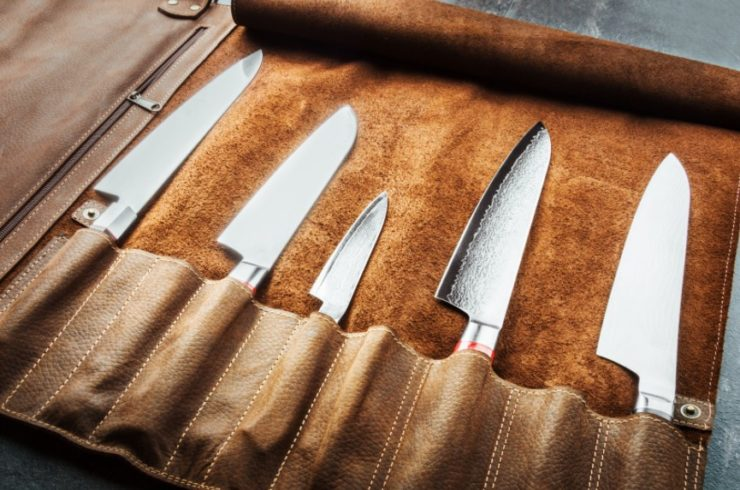 brown leather knife roll